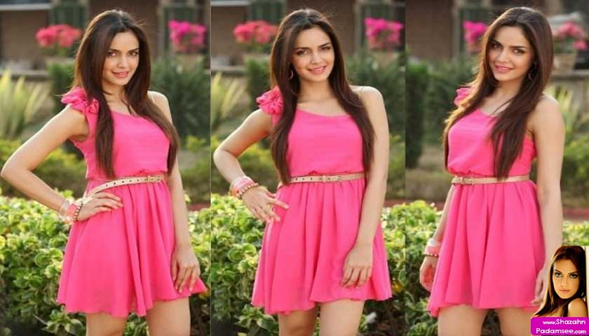 shazahn padamsee wears pink short dress